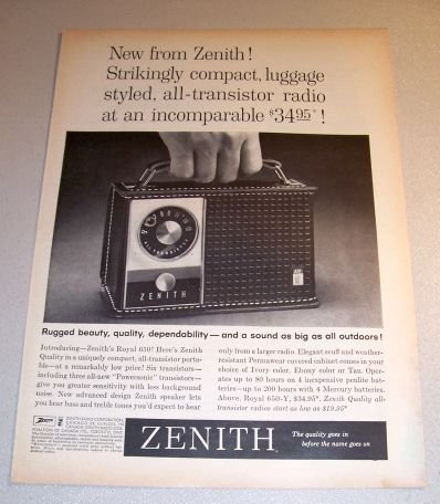Zenith Royal 650 Portable Transistor Radio 1962 Print Ad