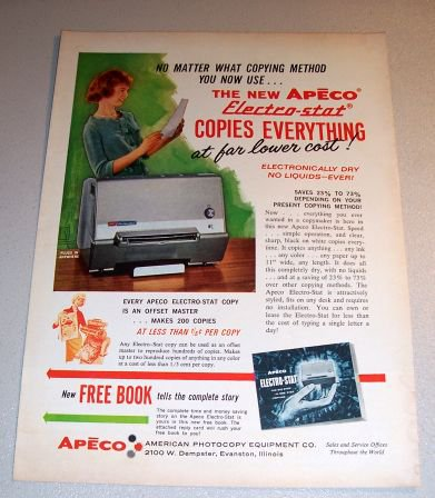 Apeco Electr-stat Copier 1962 Color Print Ad
