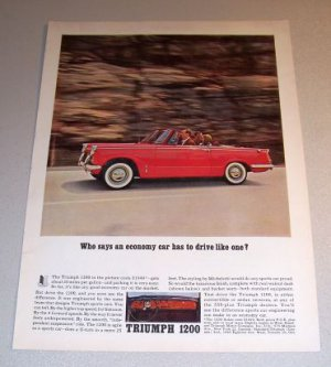 1962 Triumph 1200 Convertible Sports Car Automobile Color Print Ad