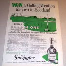 Old Smuggler Whisky Hole In One Golf Art 1962 Print Whiskey Ad