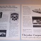 1962 Chrysler Corporation 2 Page Automobile Print Ad