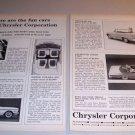 1962 Chrysler Corporation 2 Page Automobile Print Ad