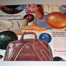1963 Brunswick Bowling Shoes Balls Bags 2 Page Color Print Ad
