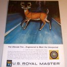 US Royal Master Tires 1962 Color Print Ad Deer Animal Art