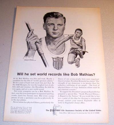 1963 Equitable Life Riger Art Print Ad Olympic Athlete Bob Mathias