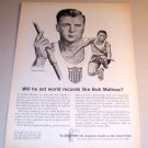 1963 Equitable Life Riger Art Print Ad Olympic Athlete Bob Mathias