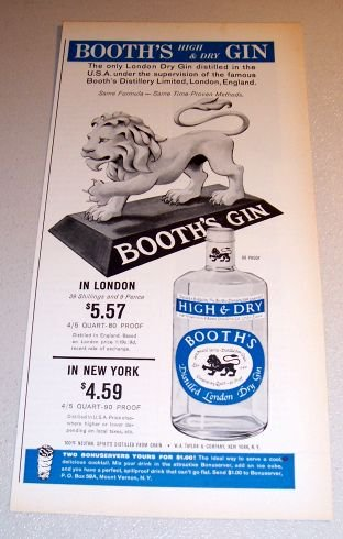1963 Booth's Dry Gin Lion Statue Art Print Ad