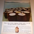 1963 Ballantines Scotch Barrels Color Print Ad Loch Lomond Scotland