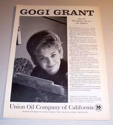 1963 Union Oil 76 California Print Ad Celebrity Gori Grant