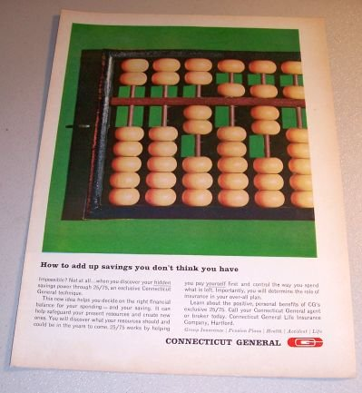 1963 Connecticut General Insurance Color Print Ad Add Up Savings