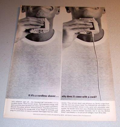 1963 Remington Lektronic II Cordless Shaver Print Ad