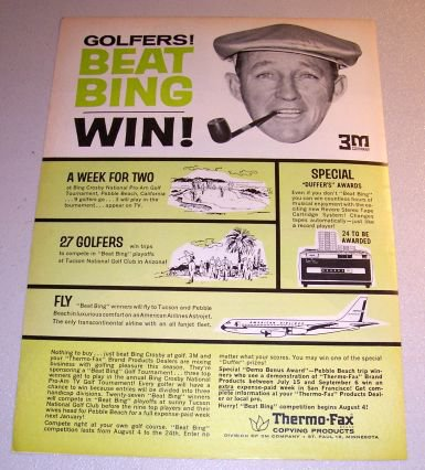 1963 Thermo Fax Copying 3M Print Ad Celebrity Bing Crosby
