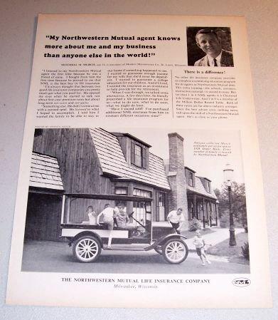 1964 Northwestern Mutual Life Insurance Print Ad Mitchell Murch Milwaukee Wis