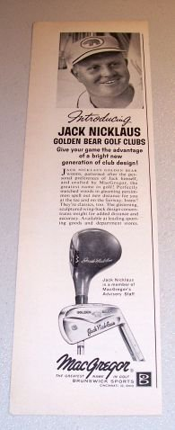 1964 MacGregor Jack Nicklaus Golden Bear Golf Clubs Print Ad