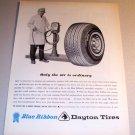 1964 Dayton Blue Ribbon Tires Air Pump Art Print Ad