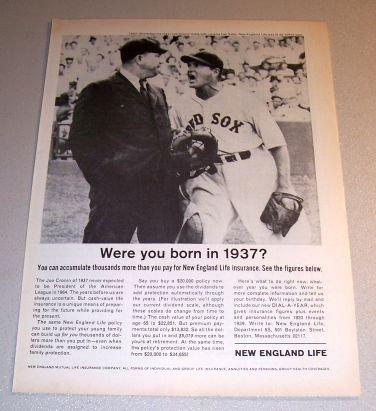 1964 New England Life Insurance Print Ad Red Sox Baseball Joe Cronin Lou Kolls