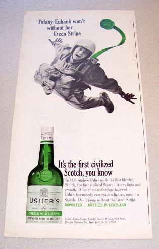 1965 Ushers Green Stripe Whiskey Print Ad Tiffany Eubank