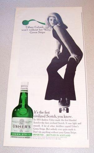 1965 Ushers Green Stripe Scotch Whiskey Tiffany Eubank Print Ad