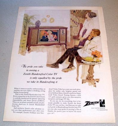 1965 Zenith Handcrafts Color Television TV Color Art Print Ad