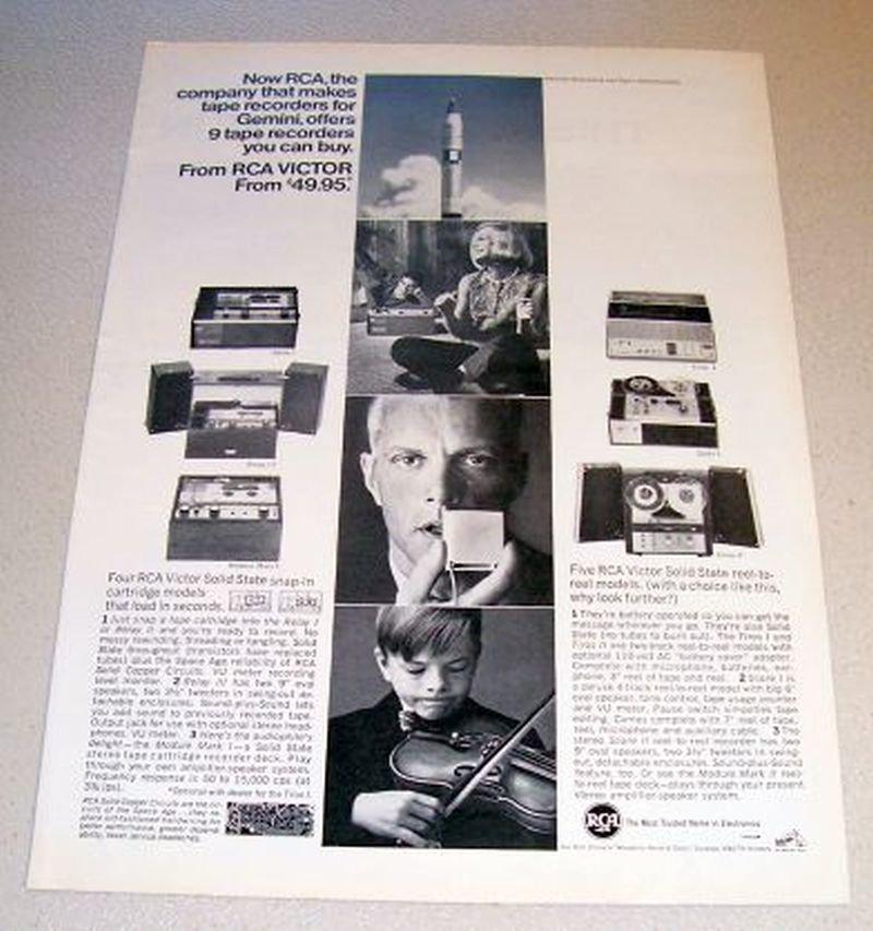 1965 RCA Victor Tape Recorders NASA Gemini Print Ad