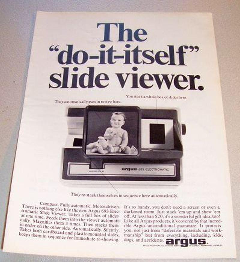 1965 ARGUS 693 Electromatic Slide Viewer Print Ad