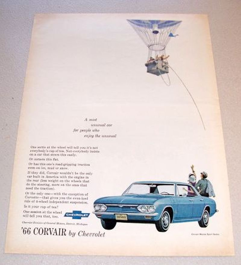 1966 Chevrolet Corvair Monza Sport Sedan Automobile Color 1965 Print Car Ad