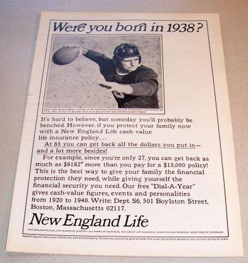 1965 New England Life Insurance Print Ad TCU Football QB Davey O'Brien 1938