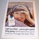 1965 Kent King Size Cigarettes Color Print Ad Woman Smoking