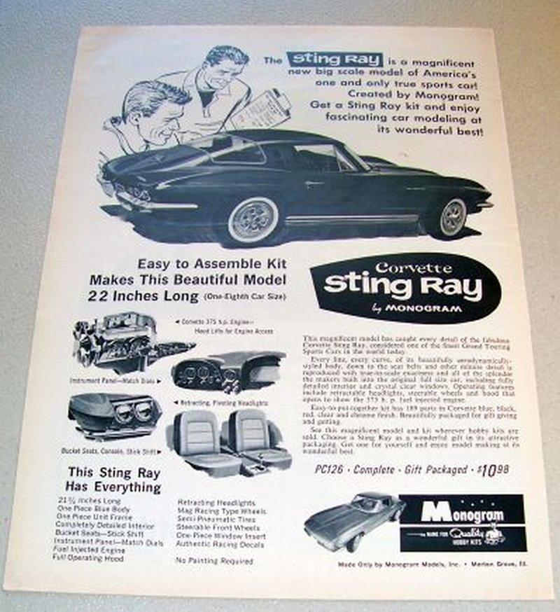 1965 Vintage Print Ad Monogram Scale Model Hobby Kit Corvette Stingray