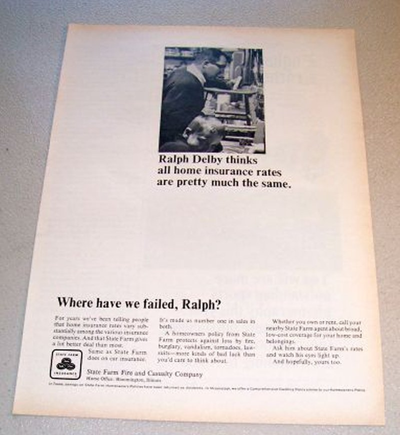 1967 State Farm Life Insurance Print Ad Ralph Delby