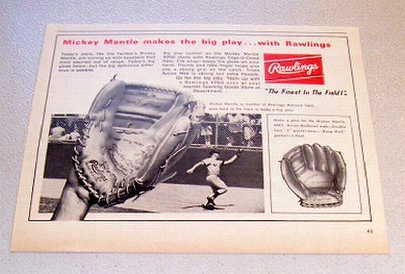 1967 Rawlings Mickey Mantle XPG6 Baseball Glove Print Ad Yankees