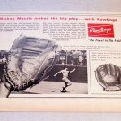 1967 Rawlings Mickey Mantle XPG6 Baseball Glove Print Ad Yankees