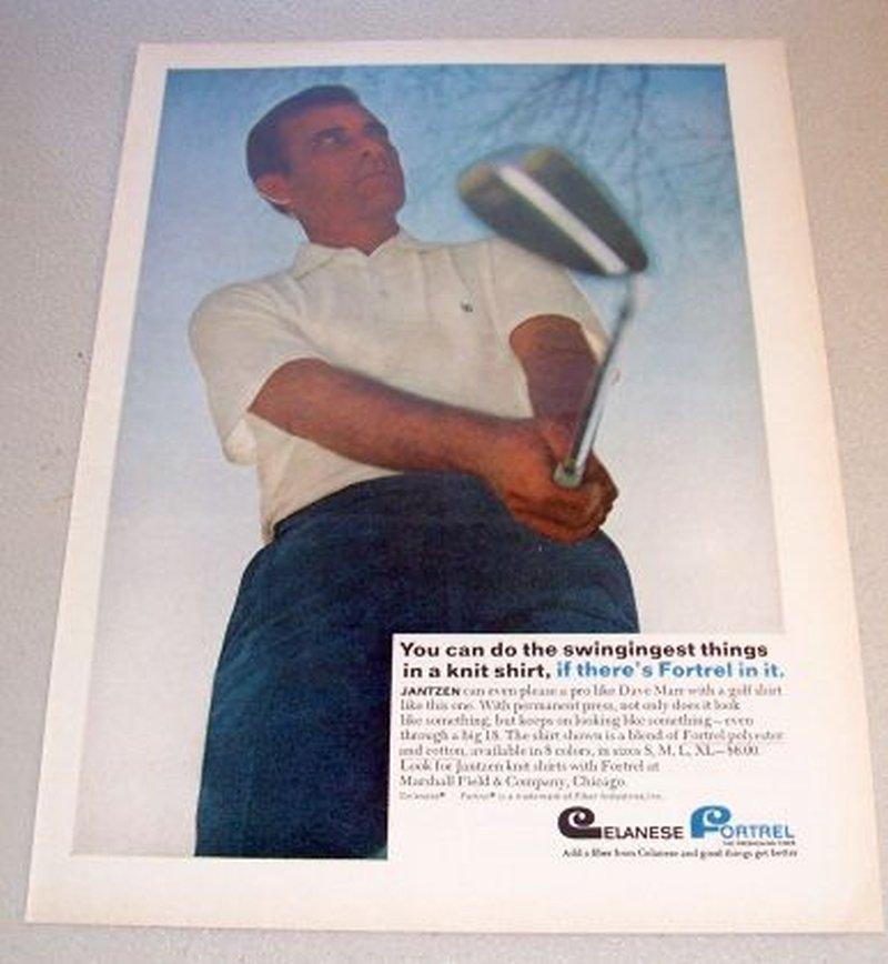 1967 Jantzen Knit Shirt Color Print Ad Golf Pro Dave Marr
