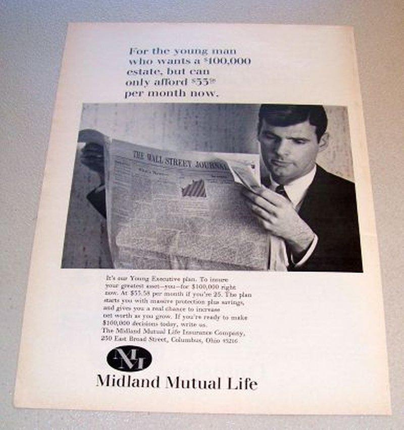 1967 Midland Mutual Life Insurance Young Executive Plan Print Ad