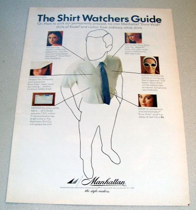 1967 Manhattan Dura-Wite Shirts Color Print Clothing Ad