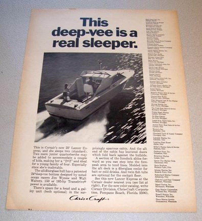 1967 Chris Craft Corsair 23' Lancer Express Boat Print Ad