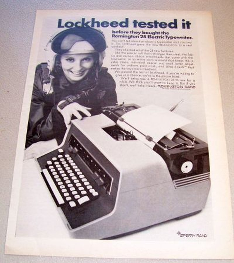 1967 Sperry Rand Remington 25 Electric Typewriter Print Ad