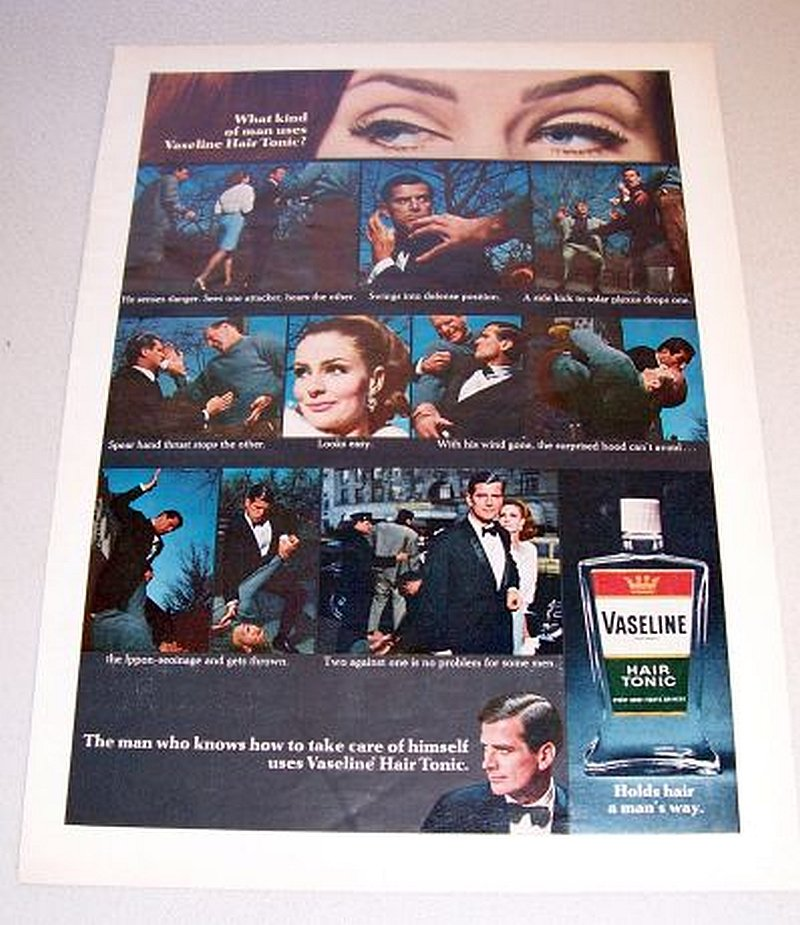 1967 Vaseline Hair Tonic Self Defense Themed Color Print Ad