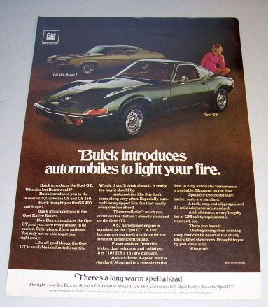 1969 Buick GS400 Opel GT Automobiles Color Print Car Ad