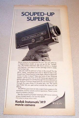 1969 Kodak Instamatic M9 Movie Camera Print Ad