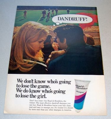 1969 Head Shoulders Shampoo Football Themed Color Print Ad