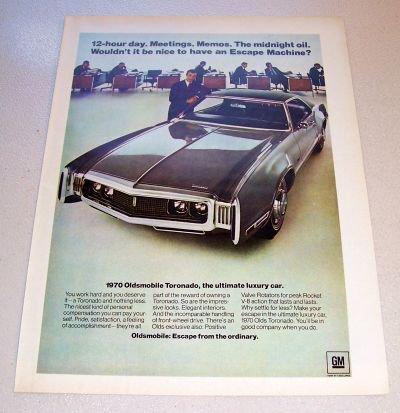 1969 Color Print Car Ad for 1970 Oldsmobile Toronado Automobile