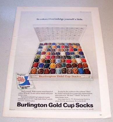 1969 Burlington Gold Cup Socks Color Print Ad