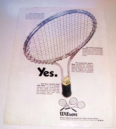 1969 Wilson T2000 Tennis Racquet Color Print Ad