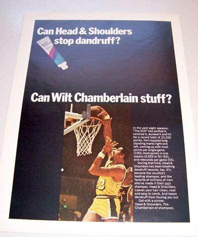 1969 Head Shoulders Shampoo Color Print Ad Lakers Wilt Chamberlain