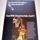 1969 Head Shoulders Shampoo Color Print Ad Lakers Wilt Chamberlain