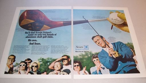 1969 Sears Arnold Palmer Golf Clubs 2 Page Color Print Ad