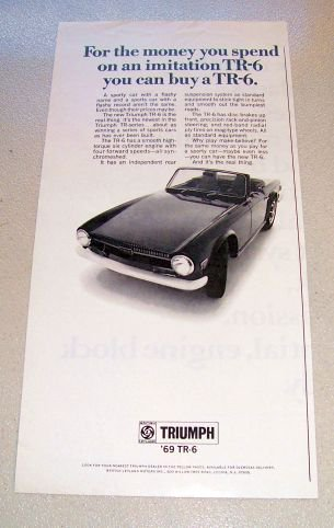 1969 Triumph TR-6 Convertible Automobile Print Car Ad