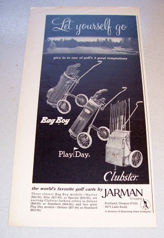 1969 Jarman Golf Carts Print Ad Bag Boy Play Day Clubster
