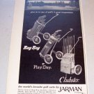 1969 Jarman Golf Carts Print Ad Bag Boy Play Day Clubster